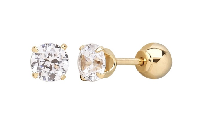 Groupon Goods: 14-Kt. Solid-Gold Reversible Stud Earrings with Swarovski Crystals (Shipping Included)