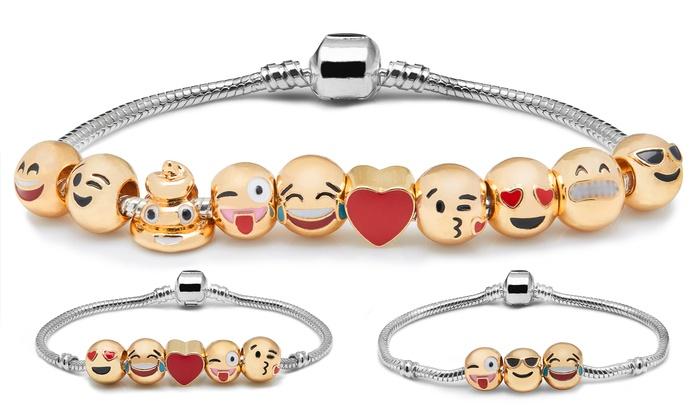 Bracelet Émoticônes en mtal dor quantit dEmoji au choix dès 690€ (jusquà 81% de rduction)