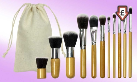 One or Two 11Piece Bamboo Makeup Brush Sets