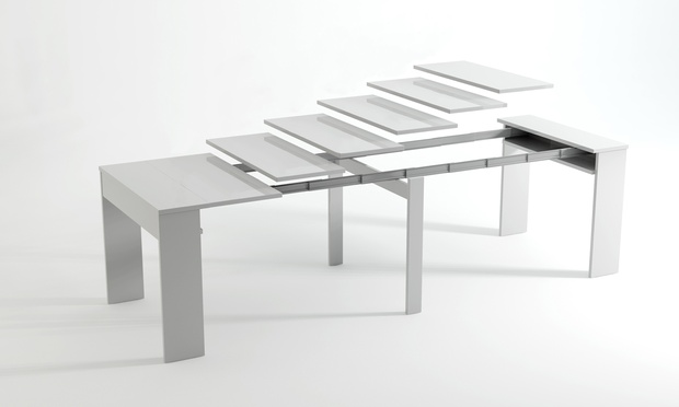 White Extending TableConsole Groupon Goods