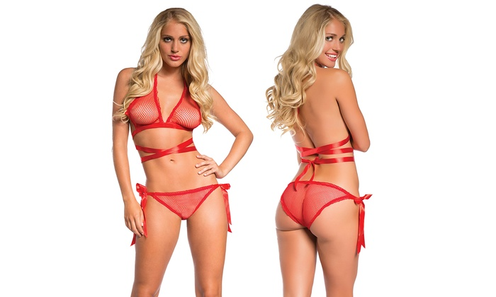 1eca6cec350ed Yandy Red Fishnet Tie Me Up Bra and Panty Set