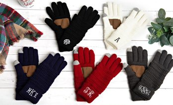 Up to 57% Off Custom Monogrammed Knit Gloves from Qualtry