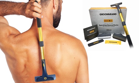 Dispositivo per la rimozione dei peli Back In It Groomarang con fino a 3 lame di ricambio