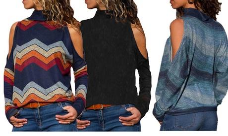 Camiseta estampada de manga larga con hombros recortados