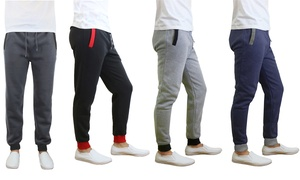 Men's Fleece Joggers with Contrast Pockets and Cuffs