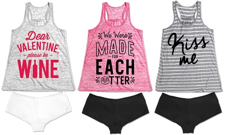 Women's Valentine's Day Tank-Top and Panty Sleep Sets (2-Piece)