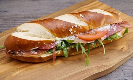 Pretzel Sub Sandwich with Drink: One $5.50 or Two Sets $11 at Bäckerei Up to $19 Value
