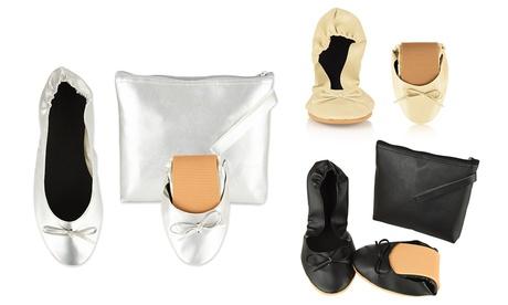 Zapatillas de ballet plegables con bolso para mujer