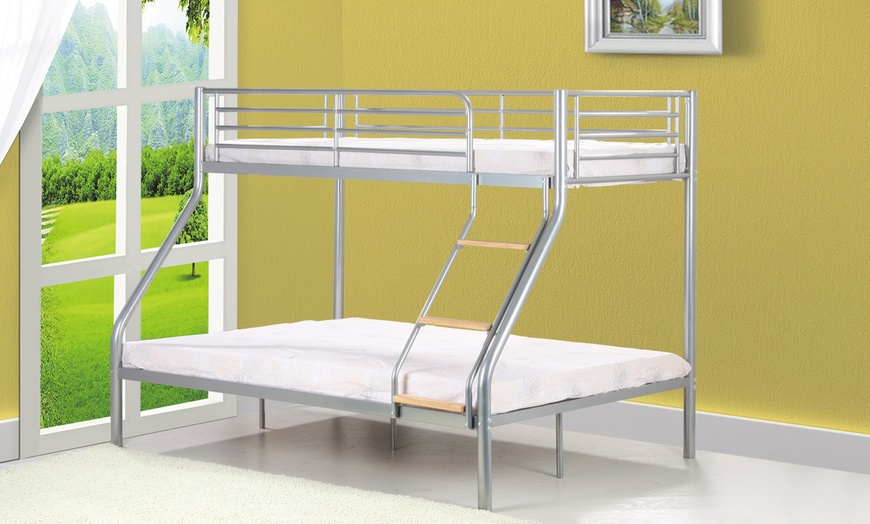 Metal Triple Sleeper Bunk Bed with Optional Two Mattresses