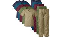 Medgear Men's 12-Pocket V-neck Top and Pants Scrubs Sets