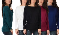 Lyss Loo Basic Instincts Women's Long-Sleeve Dolman Tunic Top. Plus Sizes Available. Single or 3-Pack.