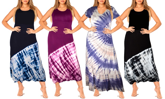 Yours Clothing Women/'s Plus Size Blue Tie Dye Tiered Maxi Skirt