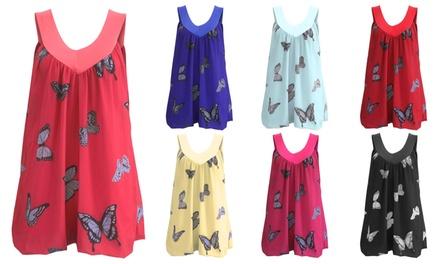 Chiffon V-Neck Butterfly Print Vest