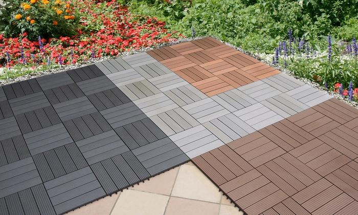 wpc terrassenfliesen groupon goods. Black Bedroom Furniture Sets. Home Design Ideas
