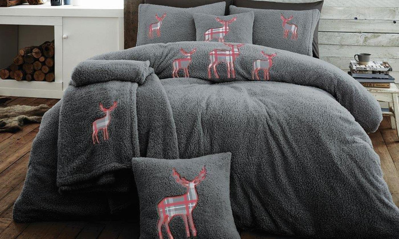 Premium Teddy Fleece Embroidered Stag Reversible Duvet Set