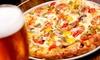 Menu pizza con antipasto, dolce e vino