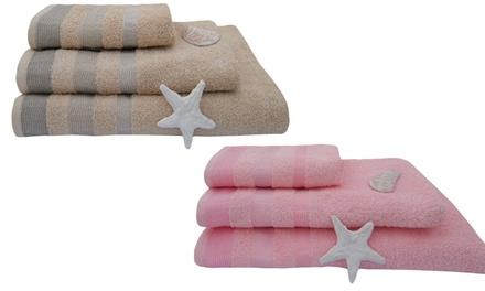 Fino a 6 asciugamani in spugna con bordi colorati disponibili in vari colori