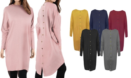 Oversized Button Back Batwing High-Low Top
