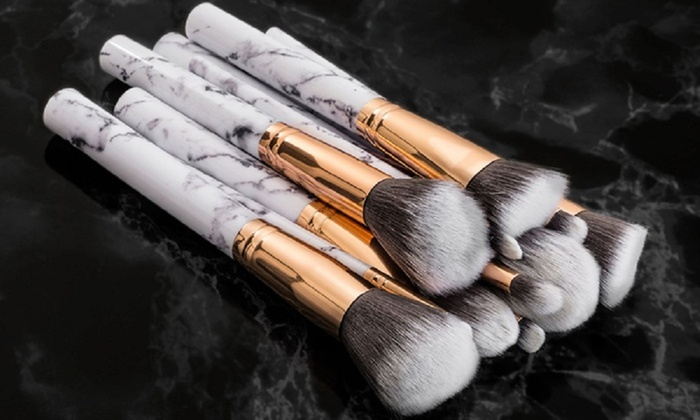 MARGOUN GENERAL TRADING: One (AED 59), Two (AED 99) or Three (AED 139) Marble Effect Make-Up Brush Sets