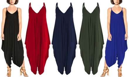 Womens Harem Baggy Jersey Romper Jumpsuit in a Choice of Colour