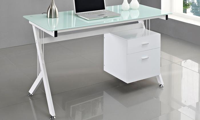 Jusqu 39 50 bureau avec dessus en verre groupon for Bureau ordinateur moderne