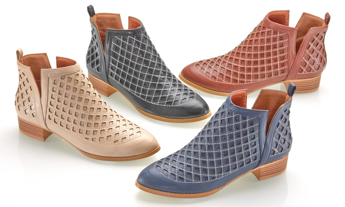 Olive Street Women's Laser-Cut Spring Bootie   Groupon Exclusive