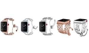 Stainless Steel Bracelet Cuff Band for Apple Watch Series 1, 2, 3, & 4