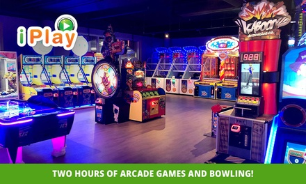 2Hr Arcade Games & Bowling for One $15, Two $30 or Six People $90 at iPlay Australia Whitford City Up to $150