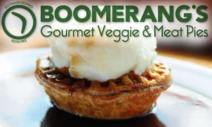 Boomerang's Gourmet Veggie & Meat Pies - West University: $10 for $20 Worth of Self-Contained Aussie Cuisine at Boomerang's Gourmet Veggie and Meat Pies