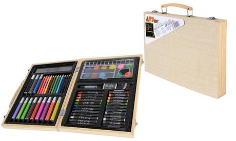 Set de 67 piezas para bellas artes con maletín de madera Oferta en Groupon