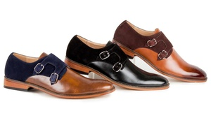 Gino Vitale Men's Monk Strap Two-Tone Loafers