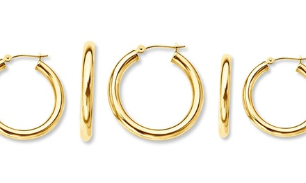 Solid 14K Gold French Lock Hoop Earrings from $29.99–$39.99