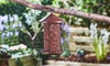 Wood-Effect Hanging Lantern Nut Feeder for Birds