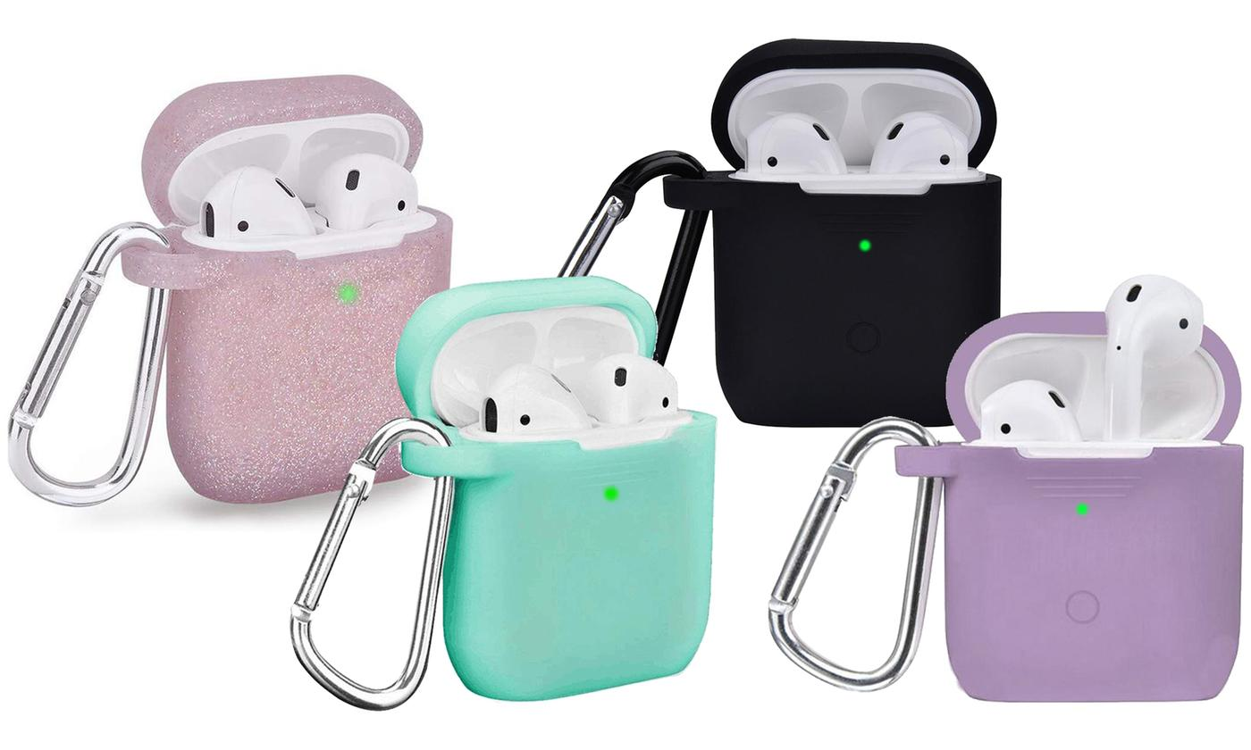 AirPods 1 & 2 Case Cover with Keychain Carabiner (2-Piece) (LED visible)