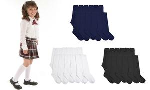Angelina Cotton Knee-High School Socks (12-Pairs)