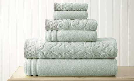 Damask Jacquard Towels with Embellished Border Set (6-Piece)