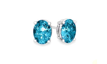 2.00 CTTW Genuine Blue Topaz Oval Cut Studs in Sterling Silver (1- or 2-Pair)
