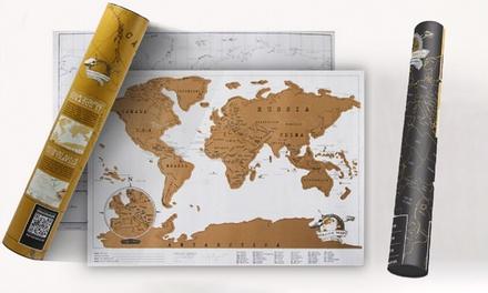 1x oder 2x Weltkarte zum Rubbeln in SchwarzGold oder WeißGold mit Infografiken inkl. Versand (Hamburg)