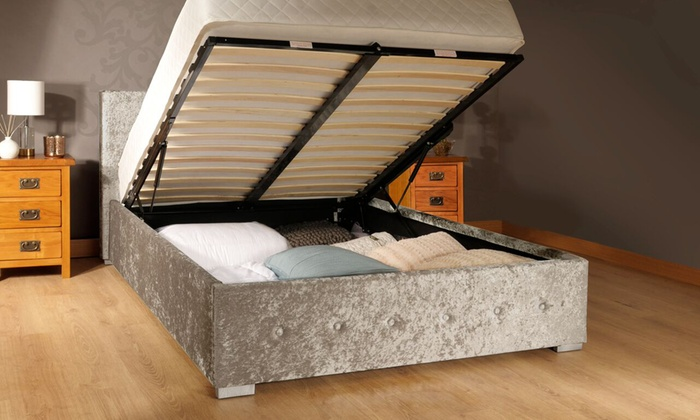 Crushed Velvet Fabric Ottoman Storage Bed Frame in Choice of Colour with Optional Kerri Mattress