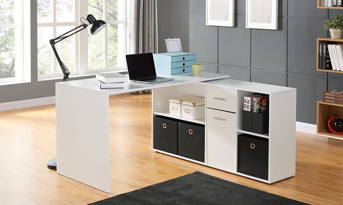 bureau pivotant veneer groupon shopping. Black Bedroom Furniture Sets. Home Design Ideas