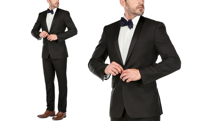 008de694535 Verno Men's Slim-Fit Shawl Lapel Tuxedo (2-Piece)   Groupon