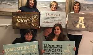 Up to 52% Off a DIY Wood Sign Painting Party at Beautifully Divine Custom Designs & More, plus 6.0% Cash Back from Ebates.