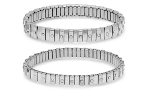 Women's Stainless Steel Cubic Zirconia Stretch Bracelet
