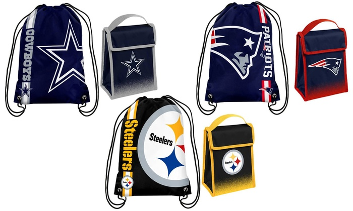 NFL Drawstring and Velcro Lunch Bag Set