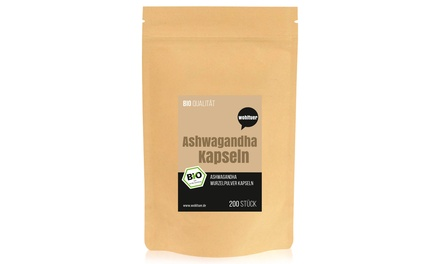 Wohltuer Bio Ashwagandha Kapseln (200 Stück) Mind. 5% Withanolide