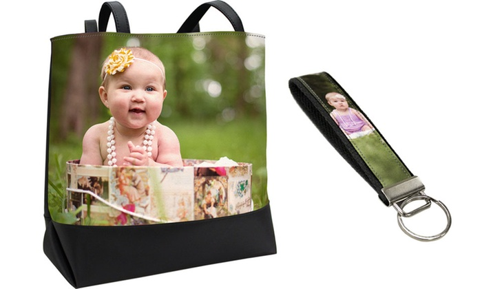 Snaptotes: Custom Photo Tote and Optional Wristlet Keychain from Snaptotes (Up to 52% Off)
