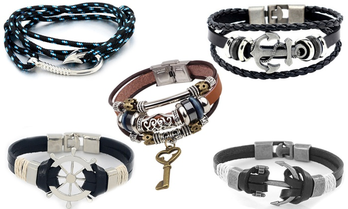 Men S Pu Leather Bracelets Groupon Goods