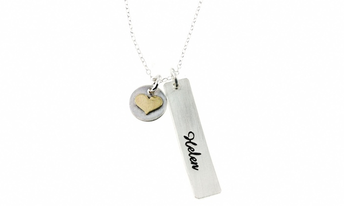 Hannah Design: Sterling Silver Personalized Name Necklace with Heart Charm from Hannah Design
