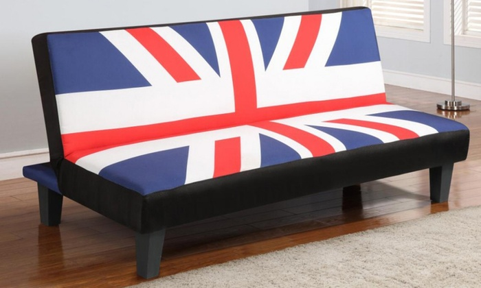 Groupon Goods Global GmbH: Union Jack Faux Leather Sofa Bed for 119.99  With Free ...