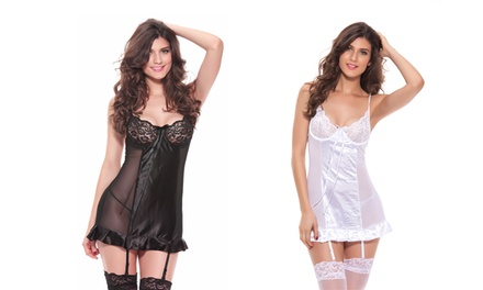 One (AED 59) or Two (AED 99) Satin and Lace Babydoll Sets